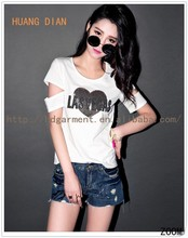 2015 White Color Fashion Short Sleeve T-shirts/Women Love Letters Bead Piece T shirts