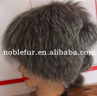 popular plain solid color silver fox fur winter hat with long tail ball