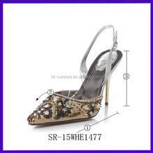 SR-15WHE1477 silver rhinestone bridal low heel wedding shoes fashion bridal low heel wedding shoes low heel lace bridal shoes