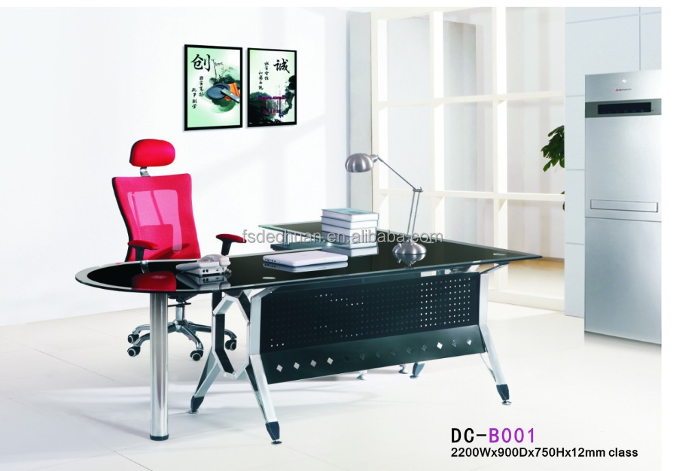 Shape Glass Office Desk Table Balck Glass - Buy Office Desk Glass