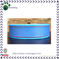 Blue High-end Leather Luxury Dog Collar