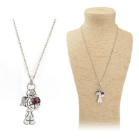 OU4819 beats.by dr.dre,women accessories china,Silvertone With Lovely Girl And Heart Stone Necklace