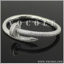 brand Nails CZ crystal pave Stainless Steel bracelet