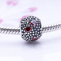 Wholesale Various Designs Metal Custom Pendants Charms 925 Sterling Silver Ball Charm Beads With Red CZ For Paracord Bracelets
