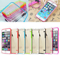 For iPhone 6s color TPU bumper clear back cover case