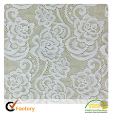 Latest high quality african beaded jacquard elastic lace fabric W005