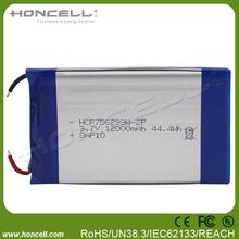 LP756299-2P 3.7v rechargeable battery 12000mah lipo 12000mah battery