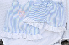 Baby Girl Knit Short Set Infant Girl Clothing outfit Two Piece Capri Set with blue lace ruffle sets