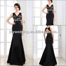 Real True person model RT02 Satin Lace V-neckline black Evening Dresses 2013
