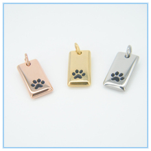 2015 Paw Print Tag Necklace Charm Necklace Dog Cat Pet Animal stainless steel