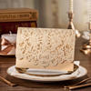 2014 New Design Gold Laser Cut Wedding Invitation Card with Embossed Flower CW072