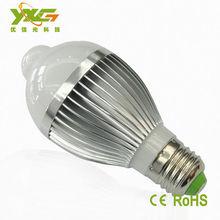 de alta calidad de aluminio 5w blanco led de infrarrojos pir sensor de movimiento bombilla precio de fábrica
