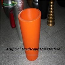 SJZJN 2657 Natural look round fiberglass cement planter pots wholesale, round garden flower planter