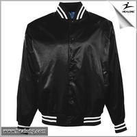 wholesale shiny black 100% polyester satin baseball jacket