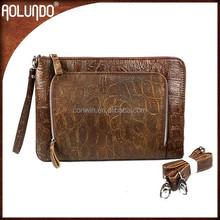 Best selling ladies envelope top layer of embossed nubuck leather shoulder hand clutches bag