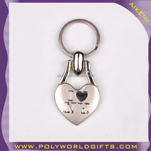 AKM-0551Bhigh quality I love NY keychain with silver chain,souvenir keychain with gold chain,promotion keychain with matte chain
