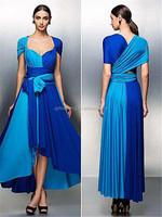2015 Women Fashion Customized Sleeveless Royal Blue Color Chiffon Maxi Women Formal Party Dresses C47-3