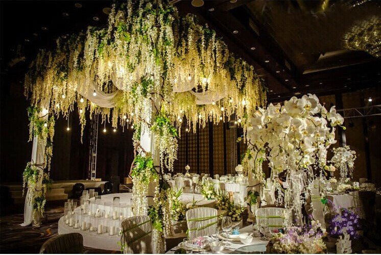 Gnw 15m length white artificial wisteria flower decoration for wedding case 6 junglespirit Choice Image