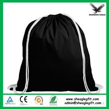 Promotion low price black cotton drawstring bag