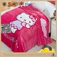2015 new arrival kitty cat printed baby fleece blankets
