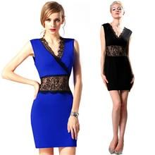 Latest Ladies Women's Summer Fashion Lace Irregular Sleeveless Perspective Office Dress YC000064