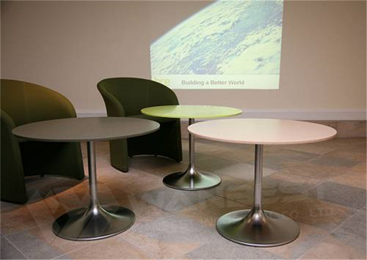 DT-024-3-dining table factory round solid surface table top stainless steel leg