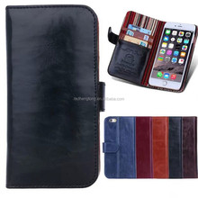 Glossy vintage style flip wallet cover for i phone 6 plus