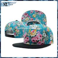 New design floral printing snapback caps and hats with great price