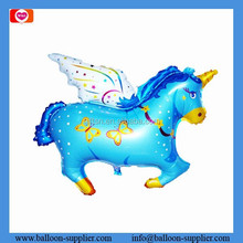 Promotional animal shaped balloon blue horse with angel wings custom printed balloons as gift toy