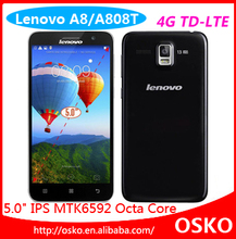 Original Lenovo A808t A8 5'' MTK6592 Octa Core Dual sim Camera 5/13.0MP 2G RAM 16GB ROM Android 4.4 IPS 4G Cell phone