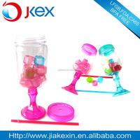 Candle making colorful mason jar with stem