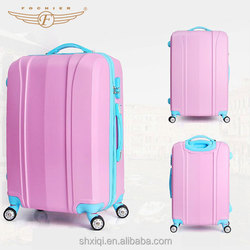 new model ABS PC zipper suitcase spinner case girls luggage