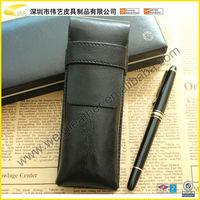 2015 Black Fashion Large capacity High Quality Pen Holder Pencil Bag Wholesale Custom Leather Promotional Fancy Pen Case