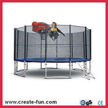 CreateFun 8ft spring adult trampoline with safety net and basketball hoop