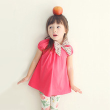 2015 new korean little girls lovely big foral ribbon t-shirts, kids cute child long tee shirts for summer children clothing