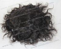 6''1B# WAVY INDIAN VIRGIN mono base + PU perimeter +lace frontal toupee
