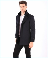 High quality Unique Cloth farbic Mens wool suit jacket with fur lining collar