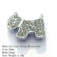 10mm Rhinestone Zinc Alloy Dog Shape Slide Charms Wholesale Jewelry For Pet Collar Or Braceletets