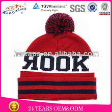 2014 Winter jacquard knitted beanie hat custom bobble beanie winter hats with top ball