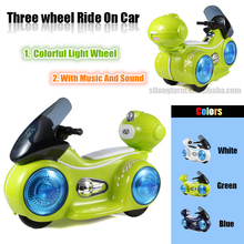 Newest colorful light wheel 3 wheel electronic children motorcycle