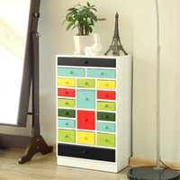 wooden multifuctional storage cabinet with colorful drawers