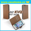 simple one color fold leather case for iphone4, 4s. with card slots and stiching cover