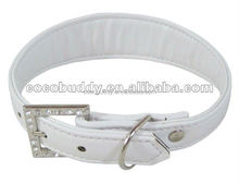 Wholesale Cheap White Color Genuine Leather Dog Collar PVC PU Pet Dog Products Supplier