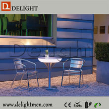 Night club waterproof led illuminated cocktail table/ led tv table design/ led cocktail bistro table linens