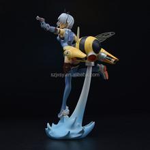 pretty girl fighting anime figure with gun