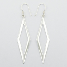 Diamond Shaped Outlines Silver Danglers