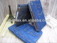 Hot sales flip design leather case for ipad mini PU protective Card case New Jeans holster folding smart cover For ipad mini