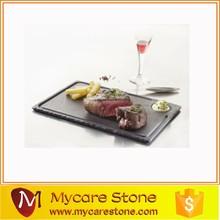 Wholesale Natural Edge Rectangle Grooved Black slate plate, Black Slate Steak Plate