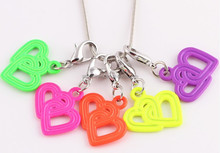 Neon color Painted double heart necklace charm pendant hollow double heart charm pendant Valentine's day jewelry finding