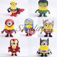 (HOT) Minions Superhero Cosplay action figure Minions toy Superhero action figures set of 8pcs Superman,Batman,Spider-man